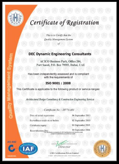 ">Certificate "" quality Management System "" DEC"