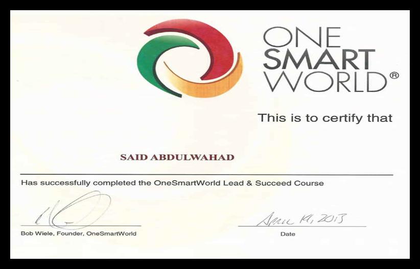 ">Certificate of "" One Smart world "" DEC"